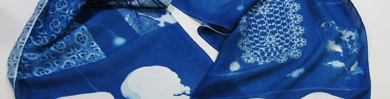 Cyanotype On Silk Scarves