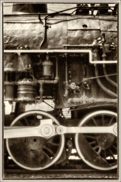 """The engine that could."" ""Taken with pinhole on lens cap with digital camera of steam locomotive."" Copyright 2015 Bob Estrin All rights reserved."
