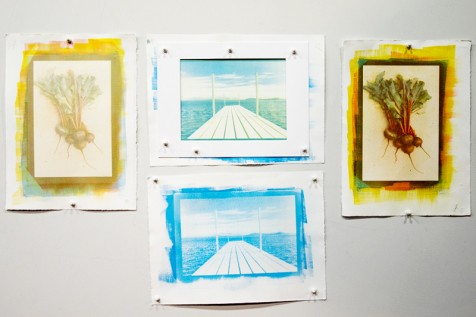 Finished prints by Maylee Noah showing one-color, two-color, and tri-color prints.