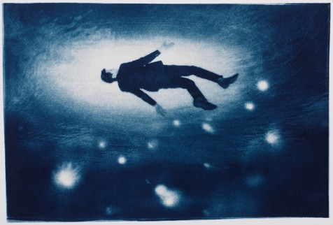 "Rising, 2013. Collaged Cyanotype Print with Digital Drawing. 11.5"" x 17"". Limited edition of 12."